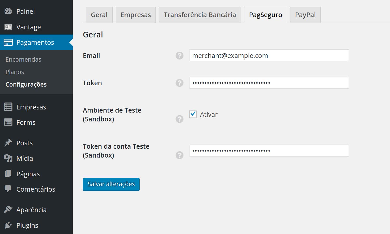 PagSeguro Payment Gateway settings screenshot
