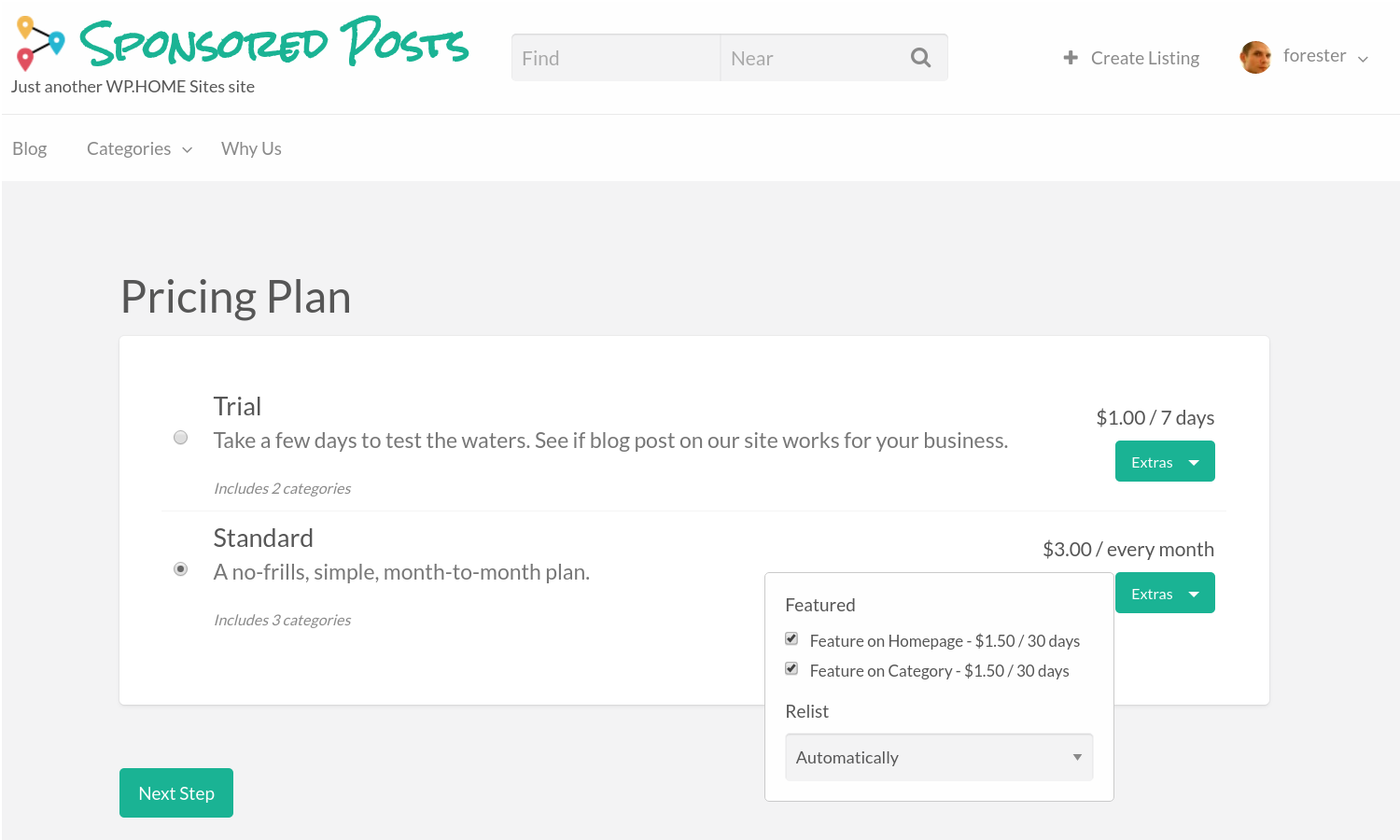 sponsored posts pricing plan advanced