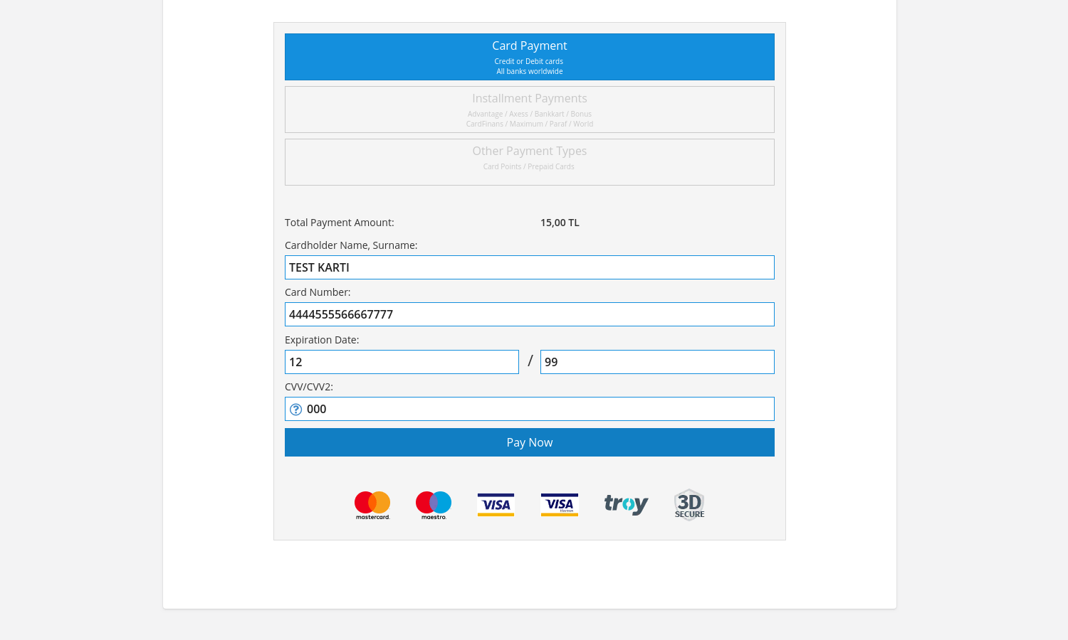 PayTR Payment Form