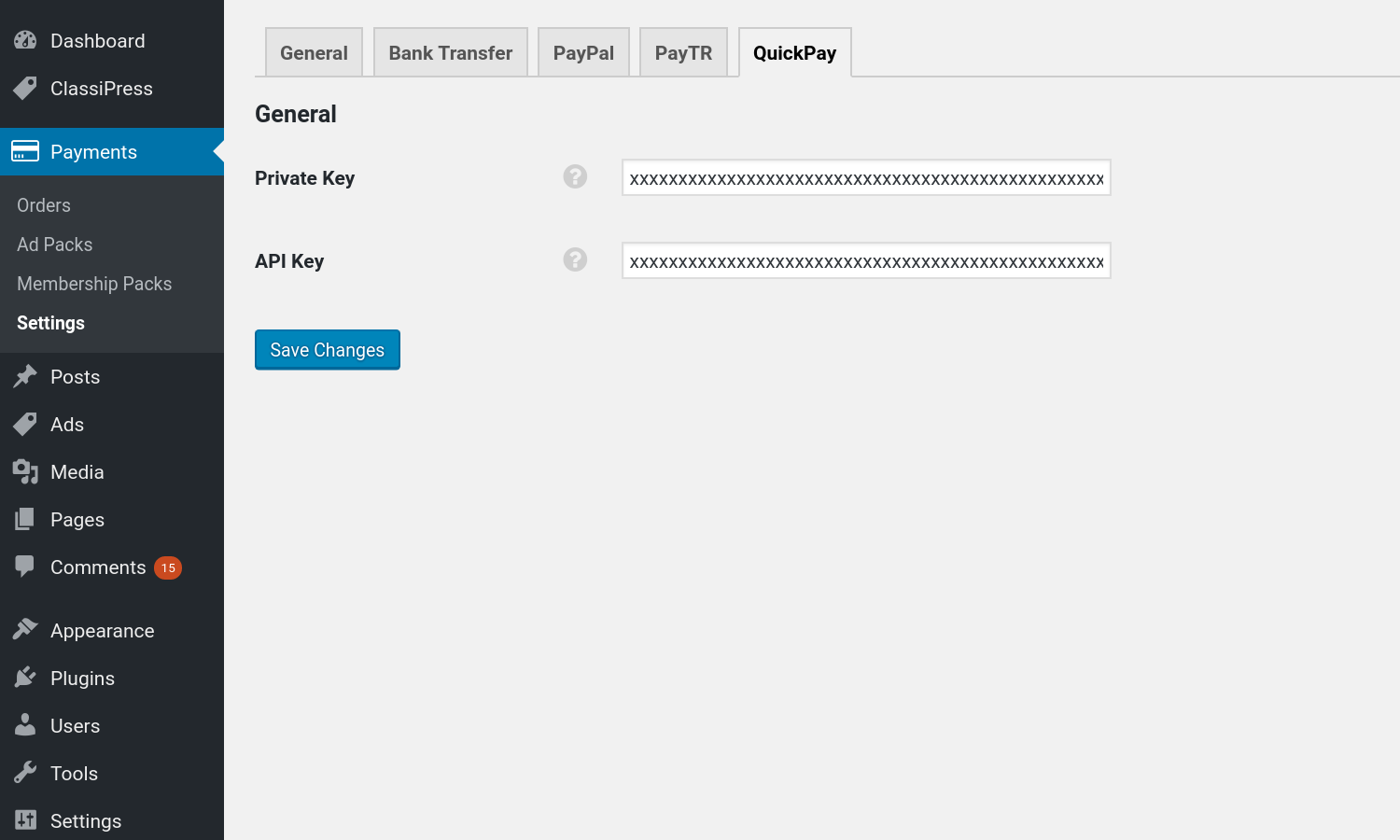 QuickPay Gateway plugin settings