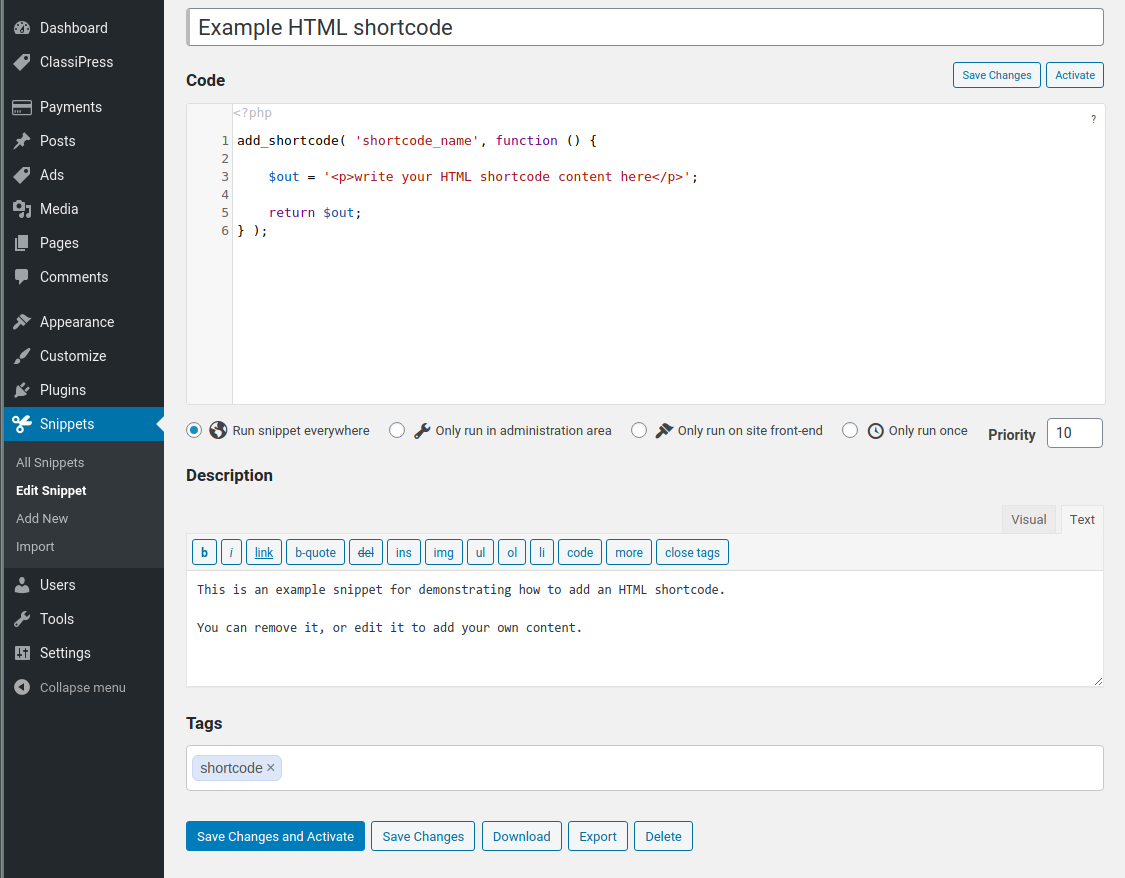 Add custom PHP code on the Code Snippets form