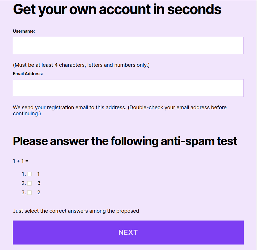 Good Question on the form against spam registrations
