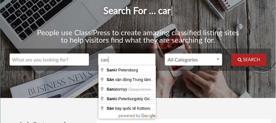 ClassiPress location search dropdown restricted to Russia