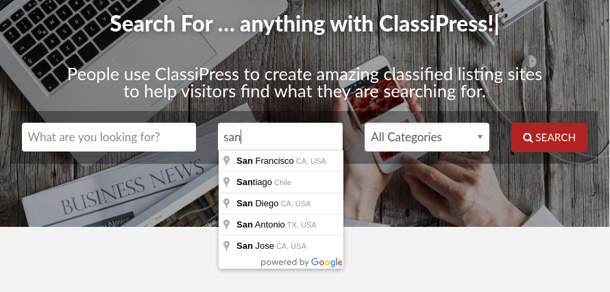 ClassiPress location search dropdown before restriction