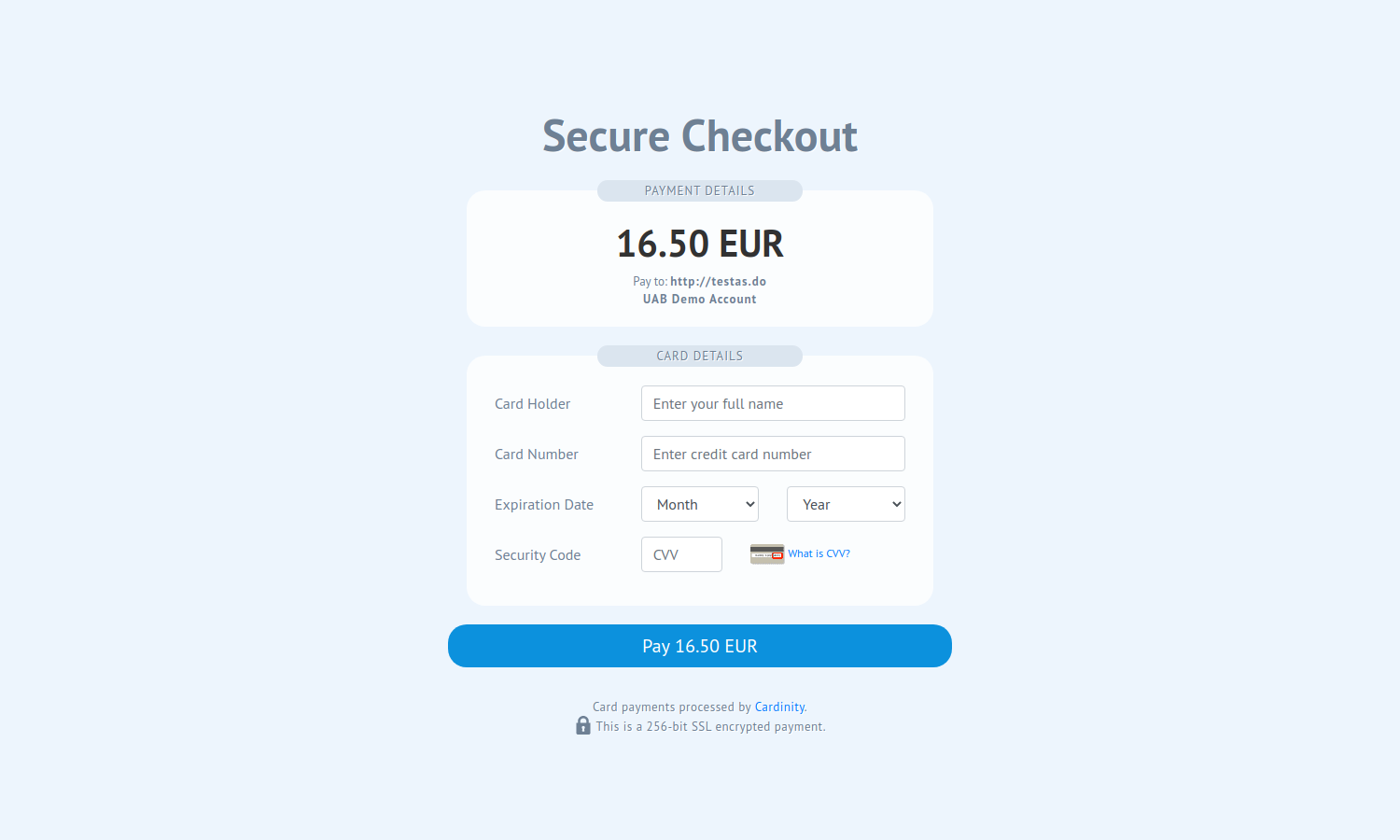 Cardinity secure payments page